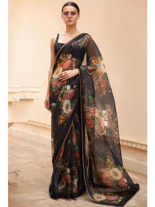 Black colour Georgette Printed Saree