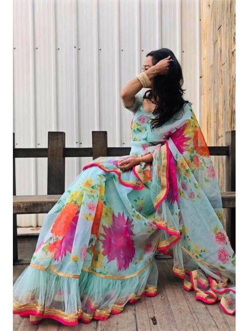 Sky Printed Saree