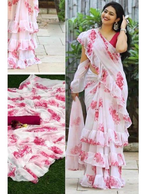 Baby Pink Floral Printed Saree