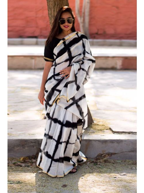 Black And White  Fancy Saree