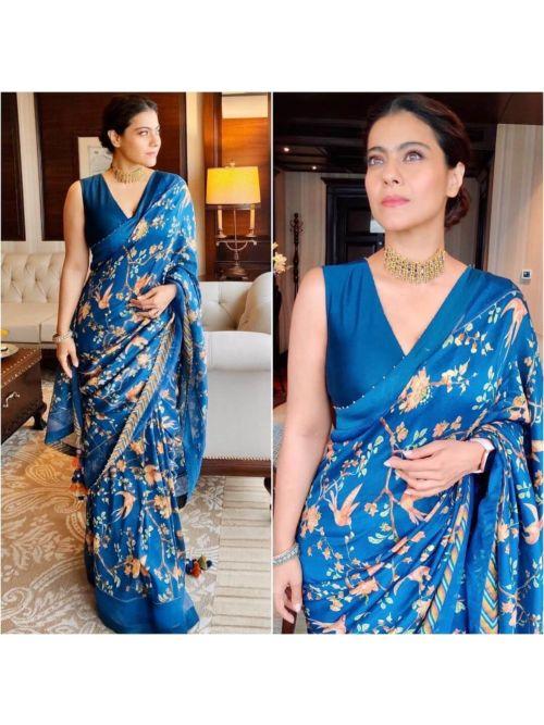 Designer Flower Printed Blue Saree