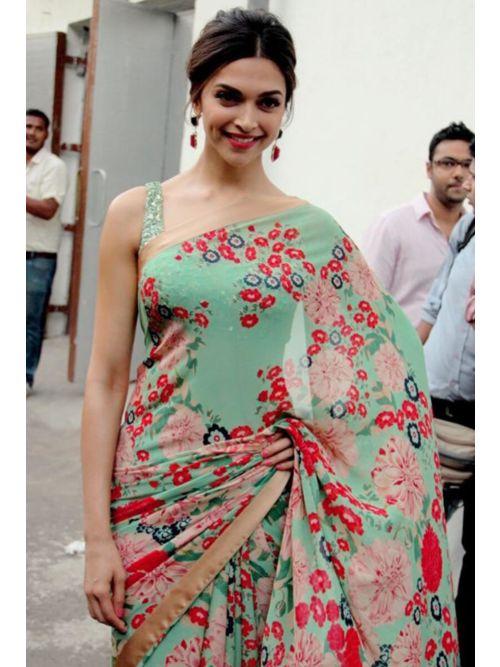 Sea-Green styles Floral Saree